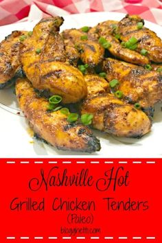 These Paleo Nashville Hot Grilled Chicken Tenders are marinated in a spicy concoction of cayenne pepper, honey, chili powder, and other spices. Spicy Grilled Chicken, Grilled Chicken Tenders, Chicken Tender Recipes, Grilling Recipes, Paleo Recipes, Cooking Recipes, Dinner Recipes, Turkey Recipes, Delicious Recipes