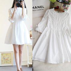 Buy Women Lolita Lace Princess Japanese Sweet Preppy Skirt Kawaii White Vintage Dress Fashion at Wish - Shopping Made Fun Simple White Dress, Cute White Dress, Simple Dresses, Cute Dresses, Beautiful Dresses, Cute Outfits, Sweet Dress, White Dress Casual, White Babydoll Dress