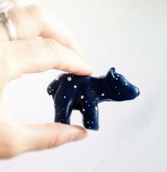 Big Dipper Bear Brooch, Paper Clay, Constellation. $15.00, via Etsy.
