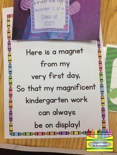 Crayons & Cuties In Kindergarten: Meet the Teacher Night! Kindergarten First Week, Preschool First Day, First Day Of School Activities, Teaching Kindergarten, Kindergarten Orientation, Kindergarten Crayons, Kindergarten Open House Ideas, Kindergarten Graduation, Kindergarten Tables