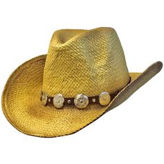 Tan Woven Straw Cowboy Hat With Western Hatband ($18) ❤ liked on Polyvore featuring accessories, hats, cowboy rocker, tan, straw hats, braid crown, crown hat, brim straw hat and tan hat