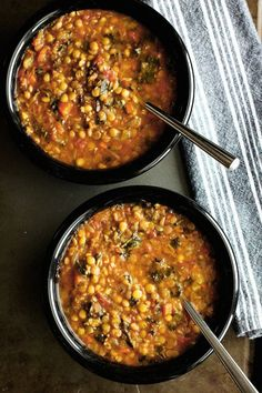 A hearty, vegan lentil and kale soup packed with vegetables, protein and fiber. A delicious, filling, healthy soup with a little spicy heat.