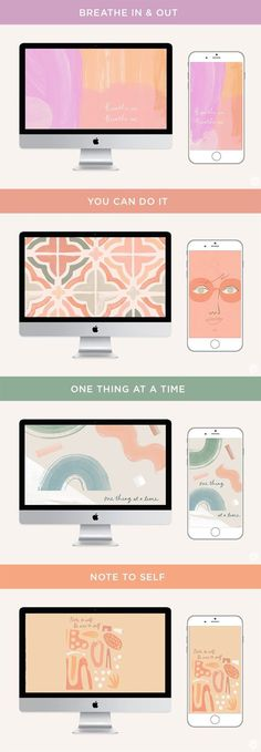 We could all use reminders to take care of our emotional well-being. That's why we love these free July 2019 digital wallpapers. Pick Me Up, Note To Self, Creative Studio, Mobile Wallpaper, Take Care Of Yourself, Bath Bombs, You Can Do, Screens, Face Masks