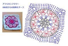 48 best ideas for crochet granny square purse african flowers Crochet Bedspread Pattern, Crochet Motif Patterns, Granny Square Crochet Pattern, Square Patterns, Crochet Chart, Crochet Squares, Crochet Granny, Crochet Designs, Crochet Baby