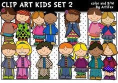 The kids clip art set 2 features 14 kids in both color and 11 black & white for a total of 25 image files in png. All images are 300dpi.