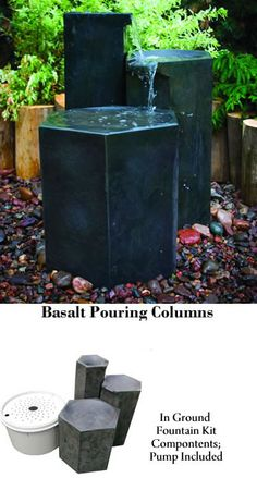 Basalt Pouring Columns  Tiered Outdoor In Ground Backyard Fountain Kit: Aquascape: Basalt Pouring Columns.