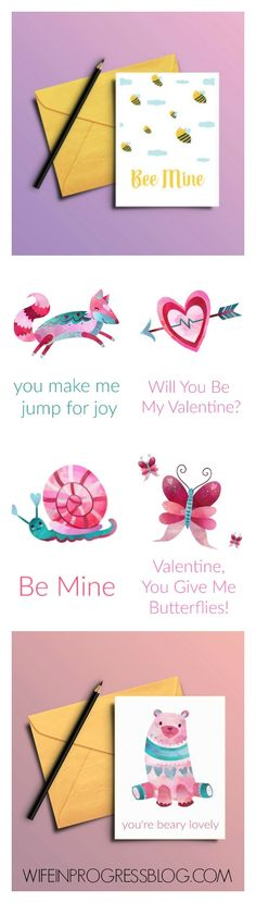 Free printable Valentines Cards for you to download via @Jenna at Wife in Progress   DIY & Home Decor Blogger