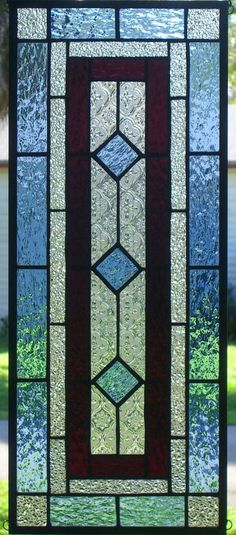 """CLASSIC STYLE 10"""" x 23-1/2""""  Signed Stained Glass Window Panel--hang 2 ways #LindaMurphy"""