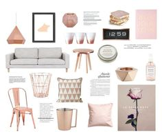 """Rose & rose gold"" by rheeee :heart: liked on Polyvore featuring interior, interiors, interior design, home, home decor, interior decorating, H&M, CB2, Herbivore and Zuo"