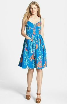 'Kirby' Print Stretch Cotton Fit & Flare Dress