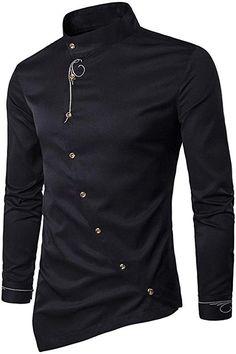 Hajotrawa Mens Slim Fit Long Sleeve Pure Color Faux Satin Relaxed Shirts