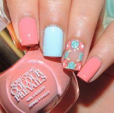 Pastel floral, pastel nail art, floral nail art, pastel pink, spring nail c Spring Nail Colors, Nail Designs Spring, Spring Nails, Nail Art Designs, Crown Nails, Pastel Nail Art, Pastel Pink, Pastel Floral, Pretty Pastel