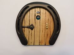 FAIRY, GNOME, hobbit or TROLL Door, Wood and Metal Handmade from recycled horseshoes by DandSCRAFTROOM on Etsy