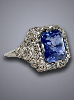 An Art Deco sapphire and diamond ring, circa 1930. #ArtDeco#ring