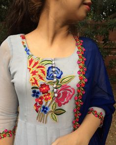 Ladies Salwar Kameez Kurti Suit Latest Fashion for Girls 2017 Indian Attire, Indian Wear, Indian Outfits, Churidar Designs, Indian Fashion, Womens Fashion, Latest Fashion, Embroidery Suits, Embroidery Designs