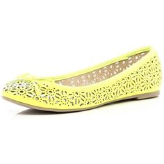 River Island Yellow Fluro Laser Cut Out Ballet Pumps ($35) ❤ liked on Polyvore