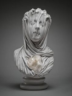 "Livio Scarpella - A ""veiled ghost,"" carved from marble, from his ""Fuori dal Tempo"" show at Gallery Gomiero in Milan, Italy (April 2014)."