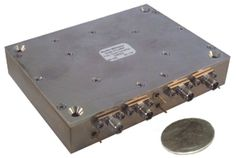 Norden's 24 to 40 GHz down converter with an integrated bypass to provide a single IF output covering the 0.8 to 24 GHz band
