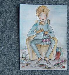 cartoon crochet lady for Julieann (ref 866) £5.00...SOLD to me...by GweddusArt on Folksy.