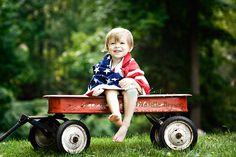 4th of July photo idea - pose your little one in a Radio Flyer wagon with coordinating red, white and blue accessories.