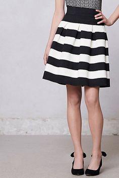 Scalloped Stripes Ponte Skirt - Anthropologie