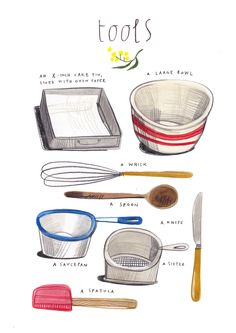 felicita sala illustration: illustrated recipes: april (with design sponge) Food Design, Recipe Drawing, Aussie Food, Food Journal, Recipe Journal, Food Drawing, Kitchen Art, Kitchen Tools, Country Kitchen