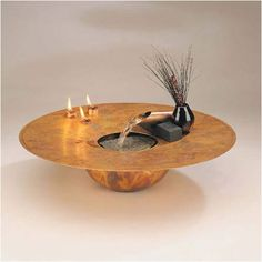 Nayer Kazemi Copper Water and Fire Circular Tabletop Fountain