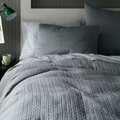 organic braided matelasse quilt cover + shams - feather grey