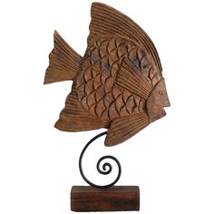 """Wildwood Angel Fish Sculpture. Features: - Hand carved mango wood - Burnt oil finish Details: - Collection Code: CO Materials: - Mango Wood Measurements: - Dimensions: 13.5"""" w x 21"""" h"""