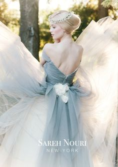 Sareh Nouri Bridal Fall 2014 Collection Marie Antoinette | Simply Jessica Marie Wedding Wednesdays....love everything about it color, materials, headpiece...can see kinda blue with this...