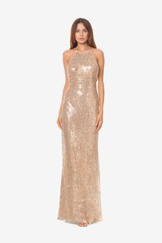 Dress your bridal party in New Years Eve Champagne. Grace sequin bridesmaid gown by David Tutera for Gather & Gown.  in Sparkling Champagne