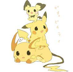 Pichu, Pikachu and Raichu.