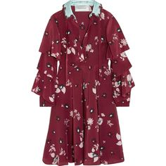 Valentino Ruffled floral-print silk crepe de chine dress (53.377.000 IDR) ❤ liked on Polyvore featuring dresses, burgundy, floral applique dress, purple ruffle dress, floral ruffle dress, burgundy silk dress and silk dress