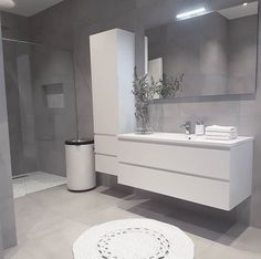 Bathroom Design Small, Bathroom Interior Design, Contemporary Bathrooms, Modern Bathroom, Modern Powder Rooms, Bathroom Vanity Units, Minimalist Home, House Design, Decoration
