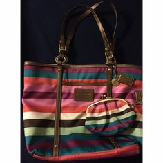 Selling this Coach Multi-Colored Striped Handbag + Coin Purse in my Poshmark closet! My username is: elogan19. #shopmycloset #poshmark #fashion #shopping #style #forsale #Coach #Handbags