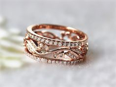 Unique Ring Set Antique Style Diamond Wedding Ring Engagement Ring and 14K Rose Gold Ring Half Eternity Ring Anniversary Ring Promise Band