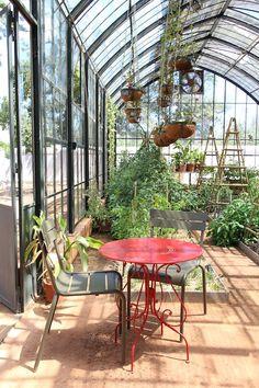 Greenhouse restaurant at Babylonstoren. P H O T O: Petite Passport Greenhouse Restaurant, Terrace Restaurant, Greenhouse Gardening, Flower Gardening, Clifton Beach, Picnic Style, Corner Garden, Garden Structures, Garden Spaces