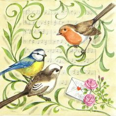 4 x Single Luxury Paper Napkins for Decoupage and Craft Vintage Singing Birds | eBay