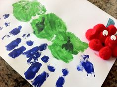 The Very Hungry Caterpillar handprint craft.