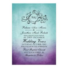 This classy aqua teal turquoise blue and violet lavender purple colored invitation features a beautiful monogram flourish swirls against an vintage inspired grunge shabby chic background. Elegant text is completely customizable so you can use this for other events such as bridal shower, wedding shower, vow renewal, 50th wedding anniversary, and engagement party invitations. Look in my shop for matching products to go with this stylish stationery set!