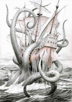Kraken Tattoo, Kraken Art, Octopus Tattoo Design, Clock Tattoo Design, Tattoo Designs, Ocean Creatures, Mythical Creatures, Tattoo Studio, Pirate Tattoo