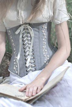moriel_mornie - embroidered linen corset in vintage style Sexy Corset, Underbust Corset, Black Corset, Corsets, Corset Costumes, Lace Tights, Lingerie, Couture, Costume Design