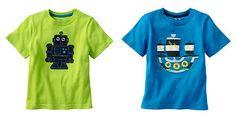 Jumping Beans Fun Toddler Boys Tee Neon Green Robot or Blue Ship -Sz 2T, 3T & 4T  -  Re-list September 3, 2013 - (info saved) Re-list next spring
