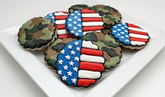 fourth of july, memorial day, cookie designs, 4th of july, prints, cookies, camo cooki, blues, camouflage