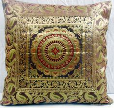16 Brown Indian Silk Brocade Pillow Cushion Cover Throw Ethnic Vintage Decor Art In Home