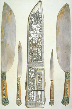 """[19C watercolour of] late 14C Burgundian knives with handles inscribed """"sil plaist a dieu"""" [if it please God]; the early 15C French leather sheath fascinatingly depicts a peasant with a hoe, beneath the legend """"Jendure"""" [I endure]. Scanned from John Cherry's """"Medieval Decorative Art""""(1991) , ill.25"""