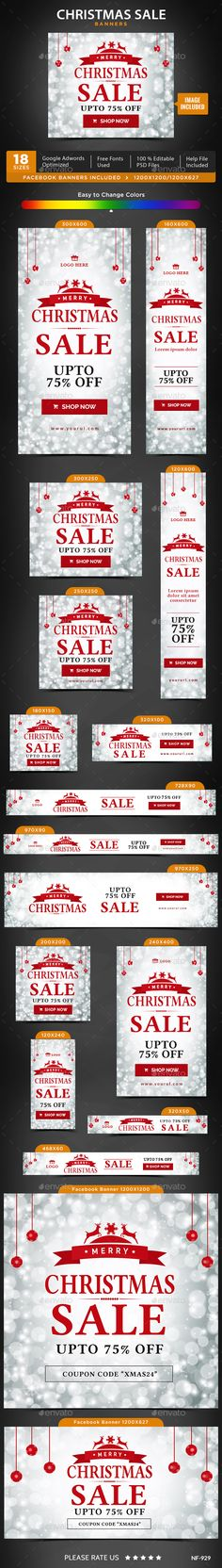 Christmas Sale Web Banners Template PSD #design #promote Download: http://graphicriver.net/item/christmas-sale-banners/14080432?ref=ksioks
