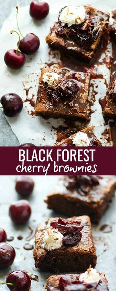 These black forest cherry brownies feature a fudgy brownie base swirled with cherry preserves and topped with whipped cream and extra cherries. -- The perfect crowd-pleaser dessert! Cherry Brownies, Cheesecake Brownies, Fudgy Brownies, Cream Cheese Brownies, Peanut Butter Brownies, Chocolate Cherry, Chocolate Flavors, Lunch Lady Brownies, Brownie Heaven