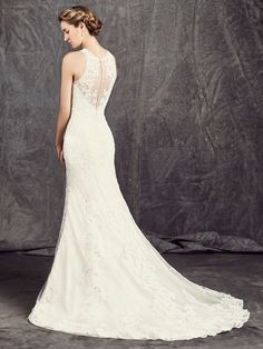 Available with no beading - Style BE283NB Corded Beaded Alencon Lace on Tulle / Satin
