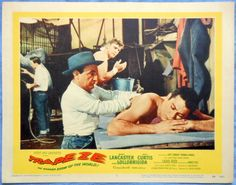 TRAPEZE Lobby Card #5 with Burt Lancaster & Tony Curtis Getting Massage CIRCUS